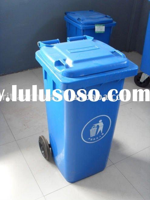 120L HOT HDPE outdoor standing plastic garbage bin with wheels and handle