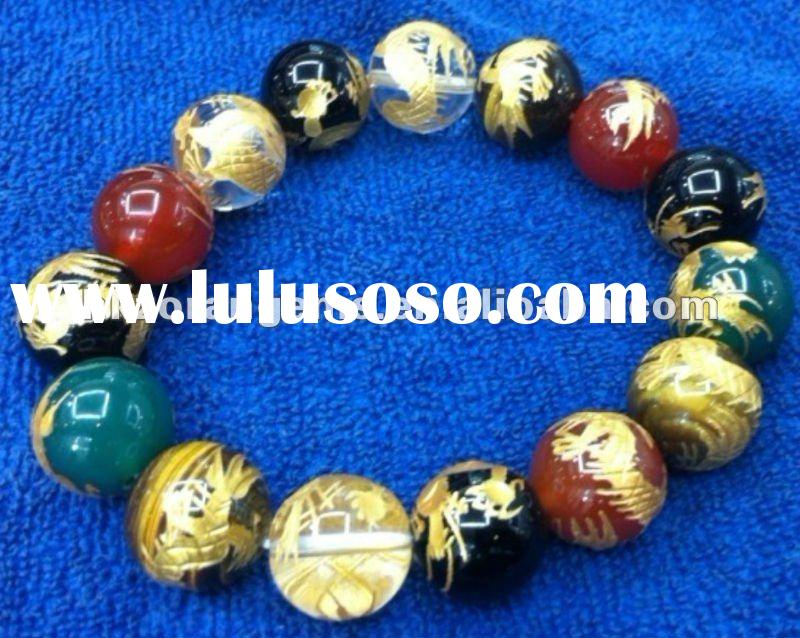 14mm round carved golden dragon agate beads bracelet