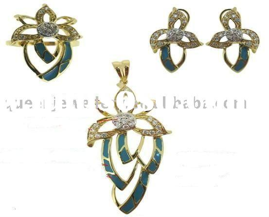 18k enamel gold jewelry set with cz, retail and wholesale,factory&manufacture