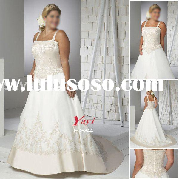 2010 New style Satin beading halter Plus Size and extra size ivory Wedding Dress FO6844