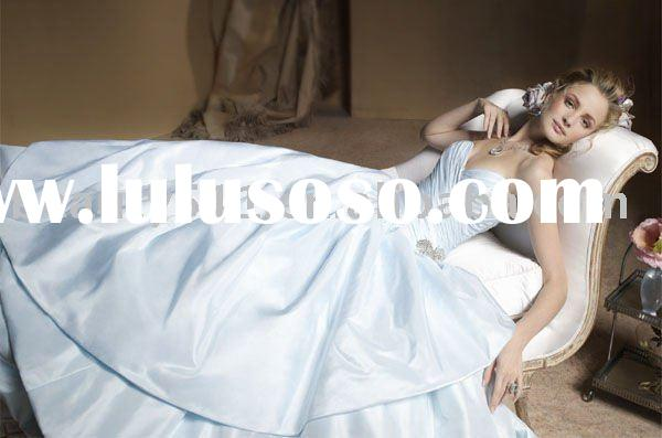 2010 simple light blue wedding dress bridal dresses ball gown WDAH0190