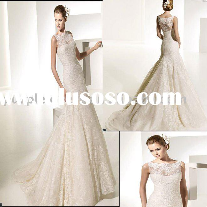 2011 Lastest Halter Neck lace Mermaid wedding dress