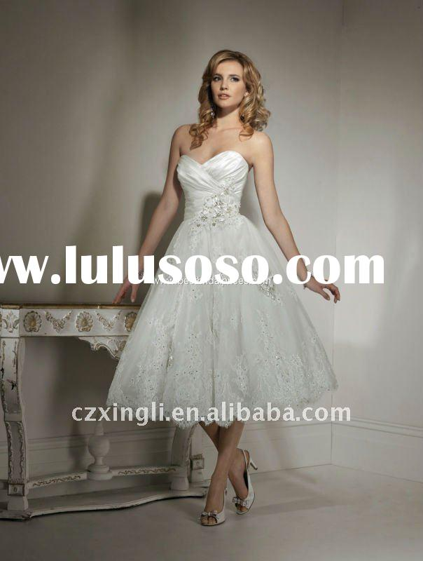 2011 Newest Style A-Line Knee-length Princess with Lace Wedding Gown