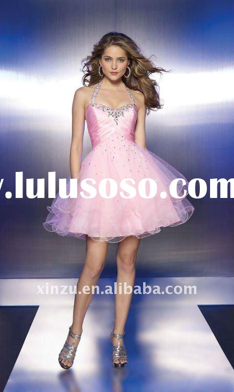 2011 Simple Pink Sequin Halter Short Ball Gown Prom Dresses--PD2128