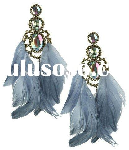 2011 high fashion jewelry crystal feather chandelier earrings factory direct