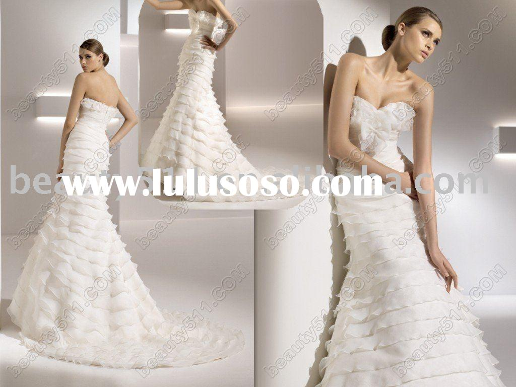 2011 new style glamour organza mermaids design wedding dress, bridal dress,wedding gown, ql513