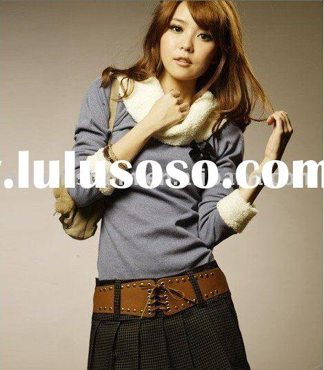 2011 spring hot and new lady's fashion long T-shirt with scarf