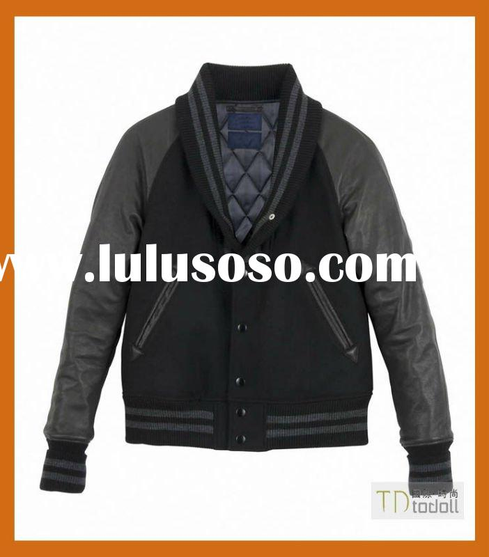 2011 top quality mens plain black varsity jacket