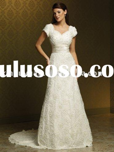 2011 top sale designer boutique short sleeves wedding gowns MSW-042