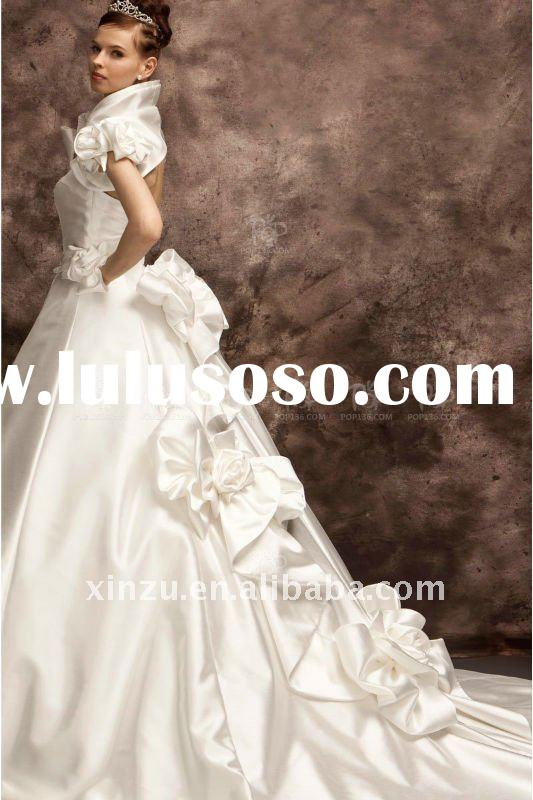 2012 Elegant Long Train Short Sleeve Bride Wedding Dresses T112749
