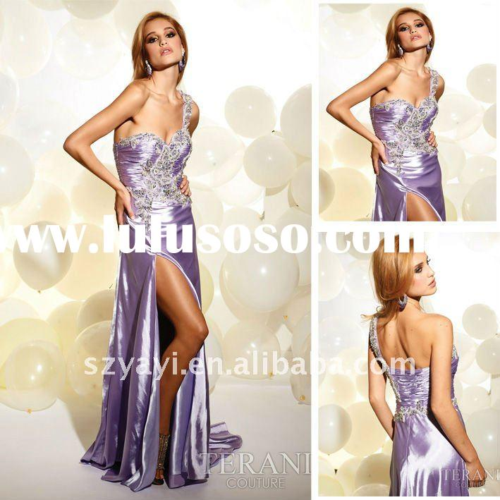 2012 New Arrival One-shoulder Lavender Applique Beaded Elastic Satin Long Prom Dresses Evening Gowns