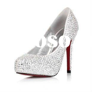 2012 Reserved satin upper high heel bridal shoes/ Fashion crystal decoration women wedding shoes MS0