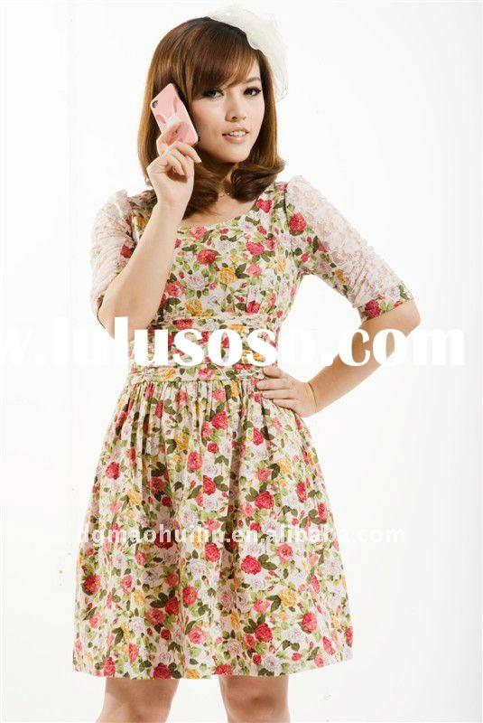 2012 SS ladies fashion new style printed flower half lace sleeve princess dress