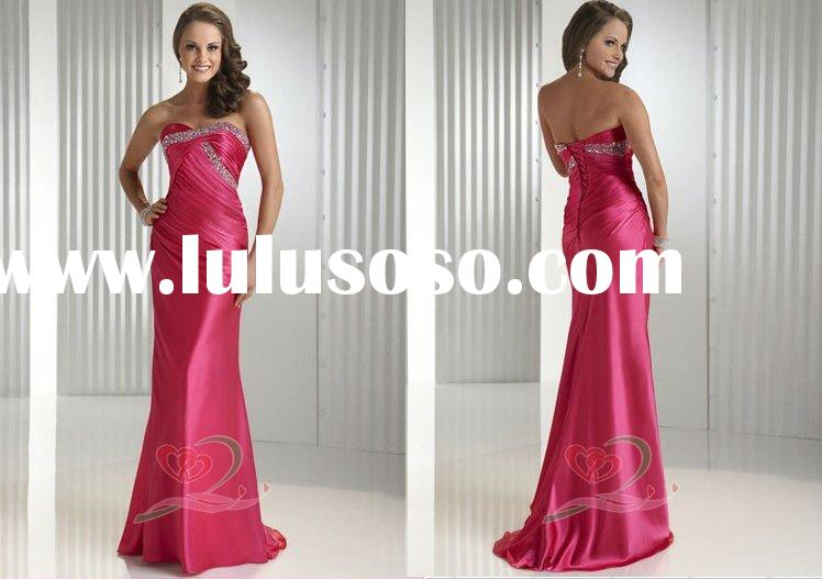 2012 Satin Floor-Length Beaded Evening Dress Prom Dresses
