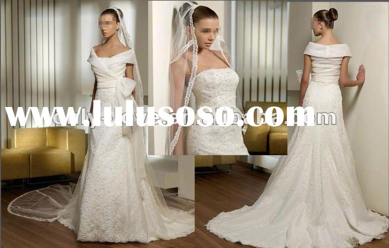 2012 ivory Taffeta off shoulder lace overlay A-line wedding dress OLW564