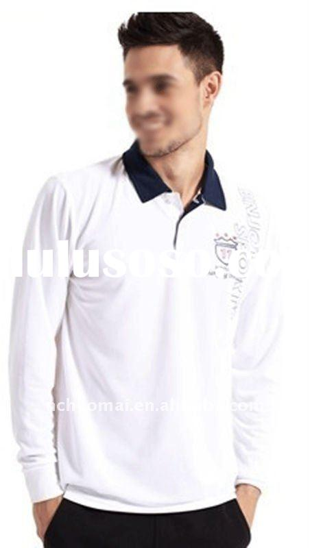 2012 spring new arrival ! Hot sale !! New design men's long sleeve polo t shirt with opposit