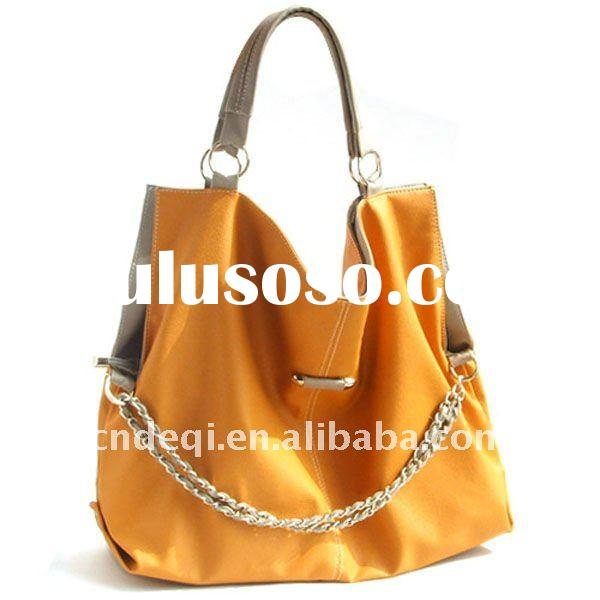 2012 top quality new style leather handbag with fancy chain