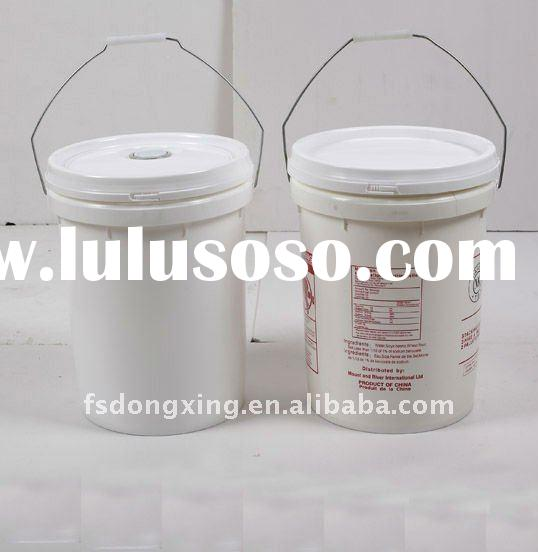 20L white plastic bucket with lid with metal handle