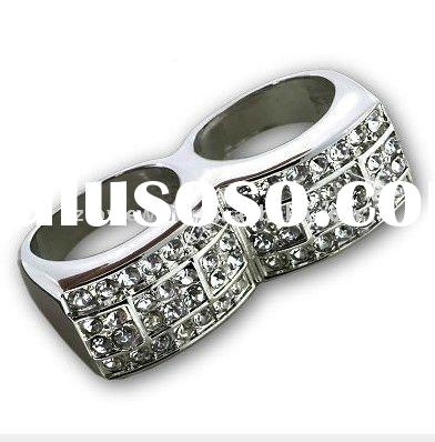 2 Finger Ring Platinum White Gold Plated With CZ Knuckle Duster