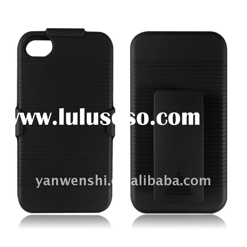 2-PIECE HARD SNAP-ON CASE COVER+BELT CLIP+KICKSTAND FOR APPLE IPHONE 4S 4G