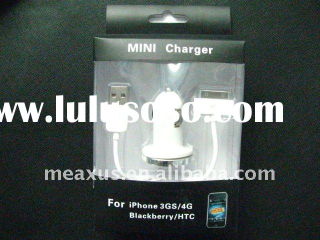 2 in 1 USB Micro Car Charger with USB 2.0 Charger Sync Data Cable for iphone 3GS/4G/ipad