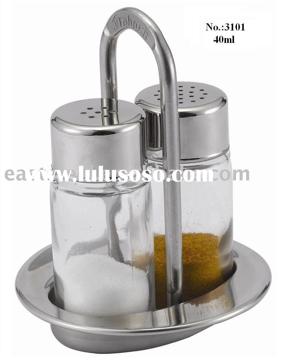 2pc glass salt and pepper shaker with S/S stand