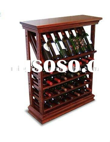 35 Bottle Maple Wine Display Rack With Top and Baseboard,wine stopper display rack,table top wine ra