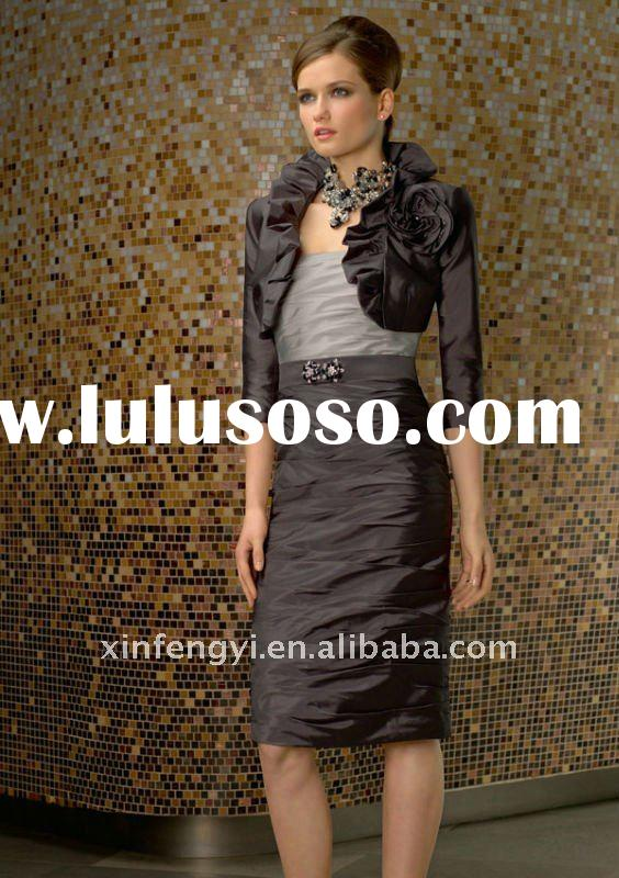 3/4 length sleeves jacket ruched beautiful back short mother of groom dress wedding evening wearing