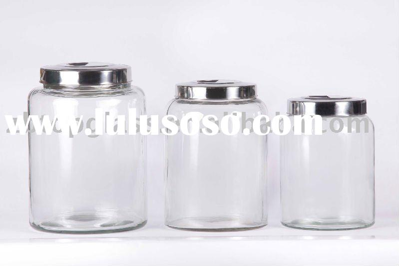 3pcs clear glass storage jar with metal lid