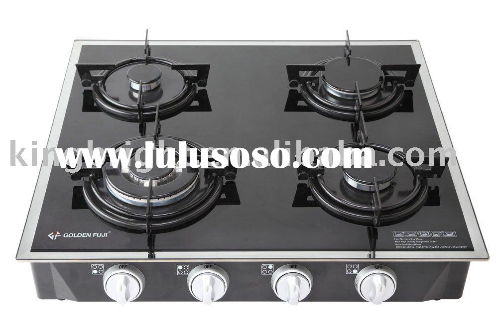 4-burner tempered glass top table gas oven
