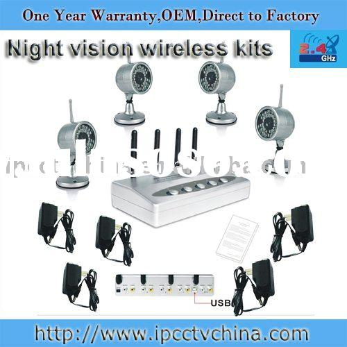 4 channel night vision 2.4GHz wireless CCTV kits