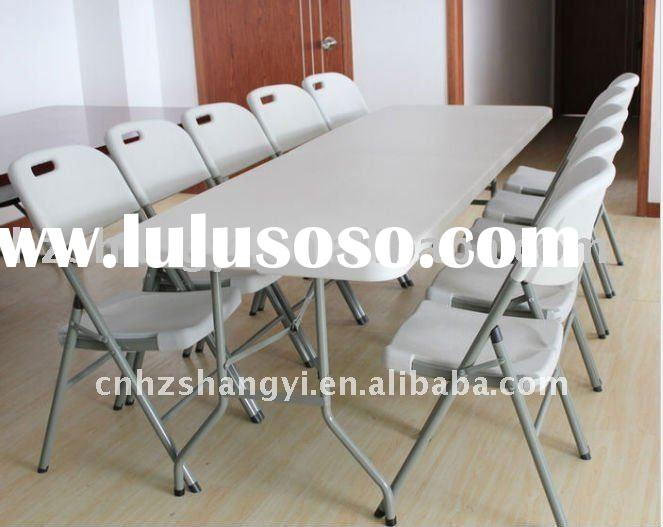 8ft marble white plastic folding dining table and chairs set design