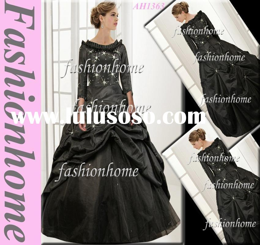 AH1363 Formal evening dress bridal dress long sleeve black floor length