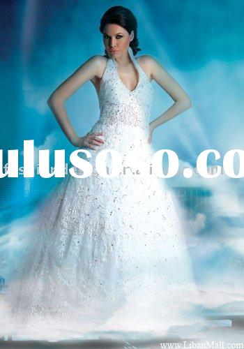 AWD136 2011 new coming halter lace Lebanon wedding dress