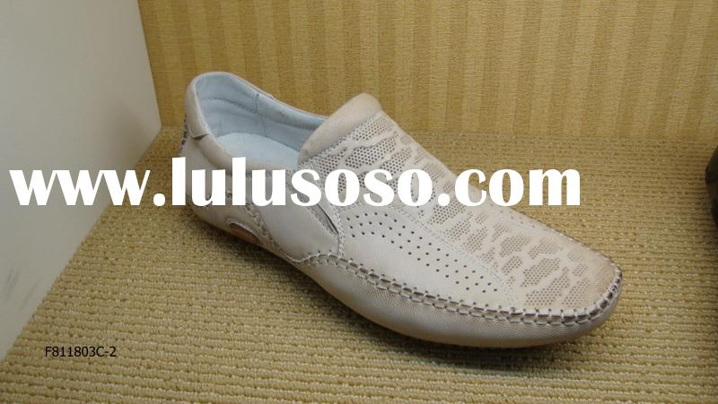 A-B-A Brand Name Beige Color Casual Genuine Leather Leathere Mens Shoes OEM Fashion