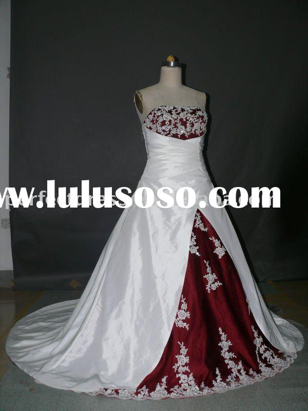 A-line Red and white wedding dresses RSC0183
