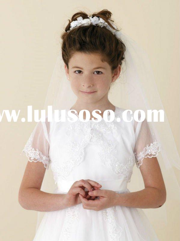 A-line Scoop Organza White First Communion Dresses,Flower Girls' Dresses
