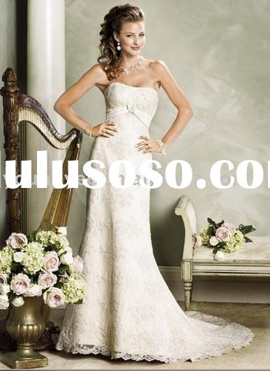 A-line sleeveless lace overlay floor length corset closure wedding dress for bride(AG9002)