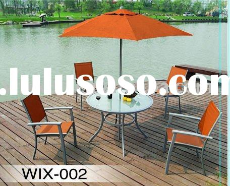 Alu round glass table with 4pcs folding chair and one umbrella
