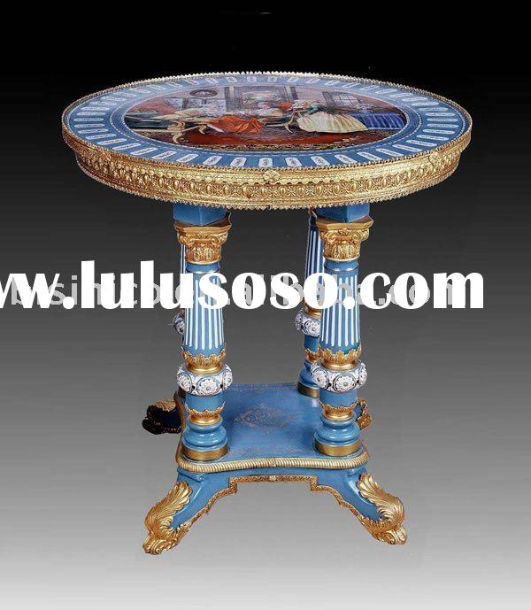 Antique hand painted Round Table,tea table,hand carving, made of ceramic,gold plated,home decoration