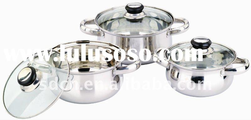Arc-shape 6 Pieces Stainless Steel Cookware Set