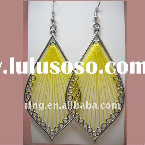 Big handcraft vietnam jewelry yellow indian earrings