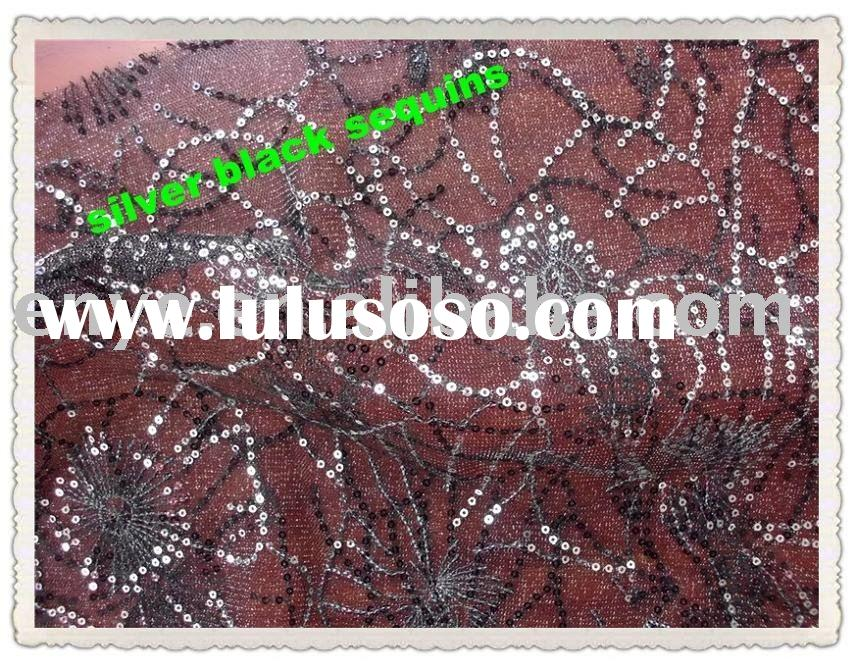 Black Silver Sequins Metallic Mesh Embroidery Garment Fabric