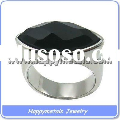 Black design rings stainless steel funky jewelry(R8409)