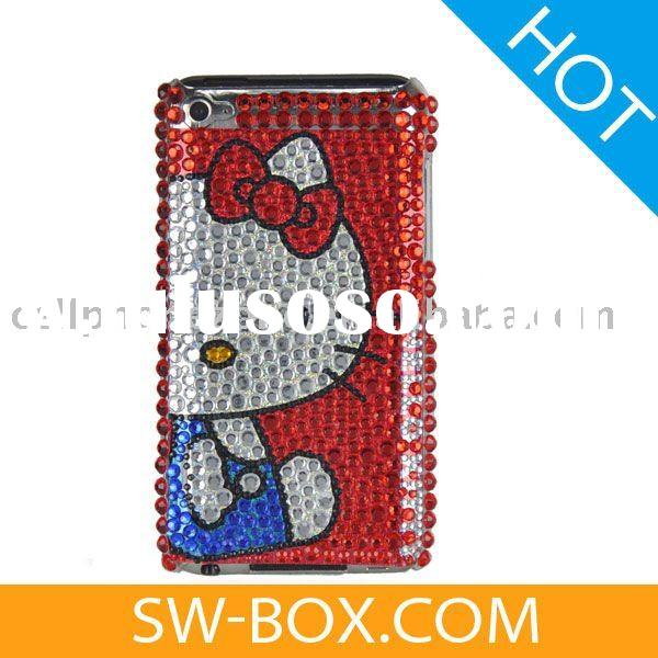 Blue Costume Hello Kitty Rhinestone Hard Case for iPod Touch 4 - Red