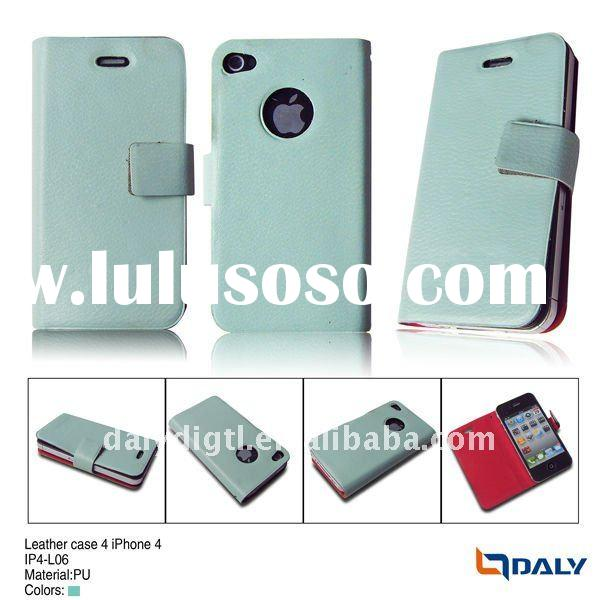Books style design of pu leather mobile phone case for i phone4