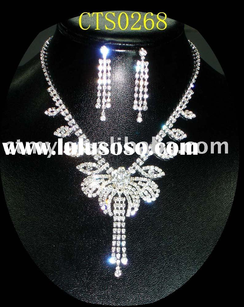 CTS0268 wedding or bridal or CZ diamond necklace and earring fashion party jewelry set costume or im