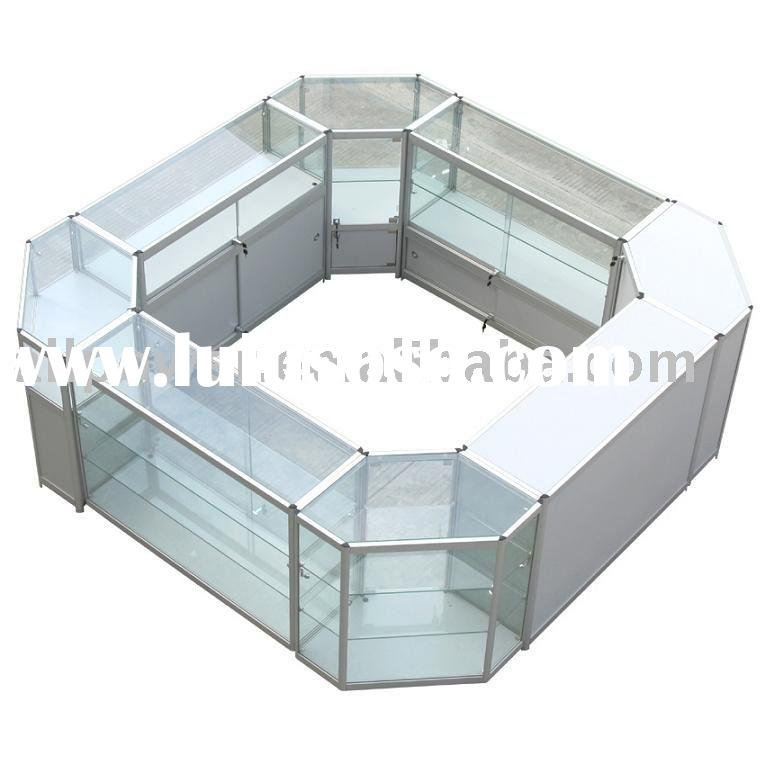 Cabinets combinations, tempered glass, aluminum profile, halogen lights illumination, MDF, Jewelery,