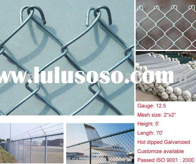 Chain Link Fence with Galvanized steel wire and mesh 2''x2''