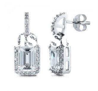 Cheap 925 Sterling Silver Dangle Earrings In Emerald Cubic Zirconia Cz